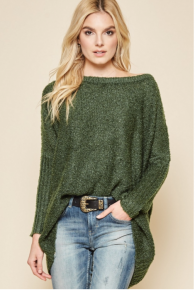 Andree  Dark Olive Slouch Sweater - Yummy Color