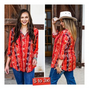 Serape Aztec Red Tunic  S to 3XL
