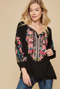 Andree BY Unit Black Tie Crepe  Embroidered Tunic