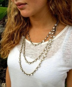 Three Layer  Gold tone & Crystal Necklace - SHow Stopping