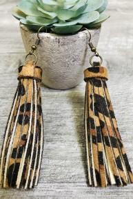 Leopard Dangle  Faux Leather Earrings