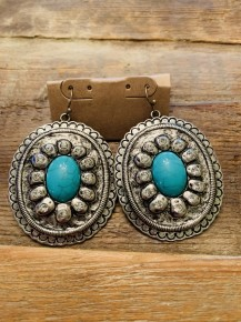 Silvertone Turquoise Concho Earrings