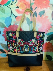 Embroidered Faux Quilted Leather Tote