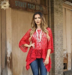 RED LACE TUNIC