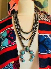 Cowgirl Gypsy Squash Blossom 3 Strand Necklace