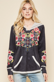 Veronica Black Embroidered Hoodie