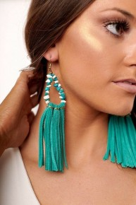 Cowgirl Gypsy Faux Suede  Tuquoise Tassel Earrings