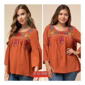 Rust Mexican Flair Embroidered Tunic _