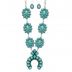 Squash Blossom Turquoise Necklace Set