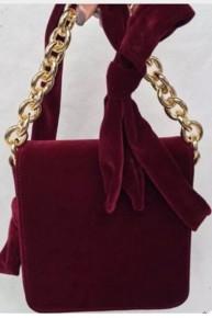 Cranberry Velvet  Bow Handbag