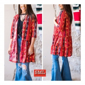 Red Aztec Ruffle Kimono  Adorable