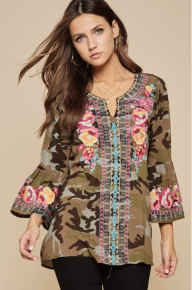 CAMO EMBROIDERED  Flair Sleeve TUNIC  (OUR # ONE STYLE)