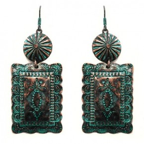 Silver or CopperPatina Concho Earrings