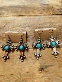 Turquoise Crystal CROSS Earrings   Silertone or Copper