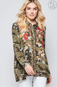 Camo Embroidered Blouse  So Yummy