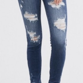 737a464f5a38 Distressed mid-rise skinny jeans INSEAM: 29.5