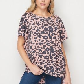 HoneyMe Pink Leopard Tunic Top