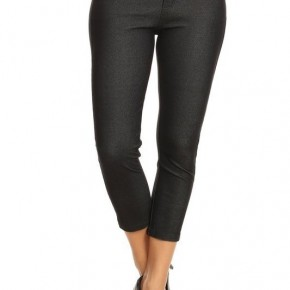 Women's Classic Solid Capri Jeggings in Black