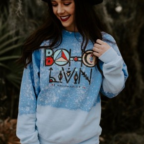 Boho Livin' Bleached Graphic Sweatshirt