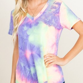 French Terry Purple and Lime V-Neck Tie Dye Top