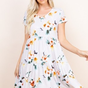 Floral Veneccia Tiered Dress in Taupe