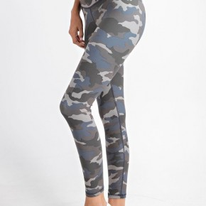 Camo Yoga Leggings in Gray Blue