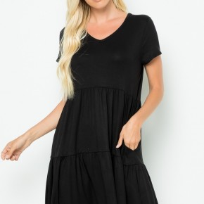 Solid Tiered Tunic Dress