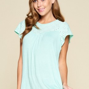 Eyelet Lace Tunic in Mint