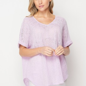 HoneyMe Loose Sweater Knit Boxy Top in Purple