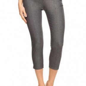 Women's Classic Solid Capri Jeggings in Gray