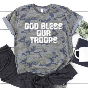 Camo God Bless Our Troops Graphic Tee
