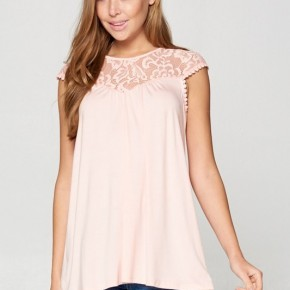 Stretch Lace Solid Tunic in Blush
