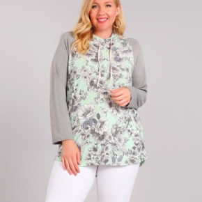 Adult Mint Floral Hoodie (Mommy & Me Set)