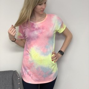 French Terry Tie Dye Tee - Lime