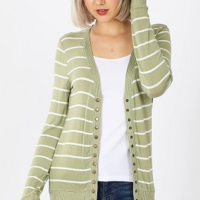 Striped Snap Button Cardigan in Sage