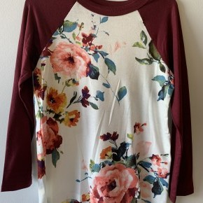 Youth Floral Raglan Top with Burgundy Sleeves (Mommy&Me Set)