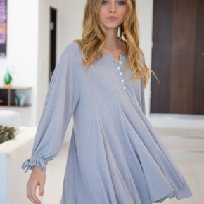 Bishop Sleeve Solid Knit Mini Dress in Gray