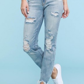 Judy Blue Light Wash Destroyed Hem Bleach Splash Boyfriend Jeans