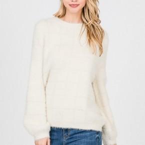 Ivory Grid Fur Sweater