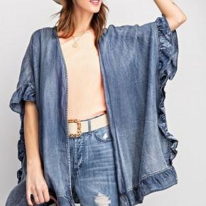 Denim Dreams Ruffled Kimono