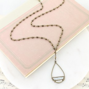 "36"" Vintage Teardrop Necklace w/ Seed Beads"