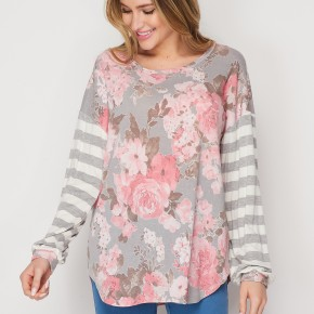 HoneyMe Gray and Mauve Top with Contrasting Sleeves