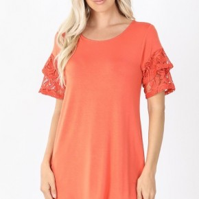 Luxe Rayon Lace Short Sleee V-Neck Dolphin Hem Top in Ash Copper