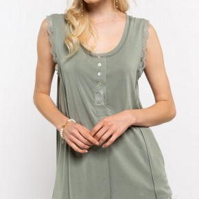 POL Sleeveless Top with Lace Trimmed Arms
