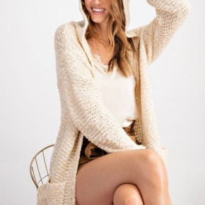 Cream 2 Tone Knitted Sweater Hooded Cardigan