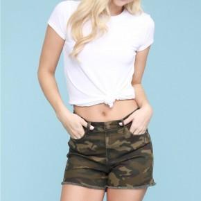 Judy Blue Raw Hem Camo Shorts