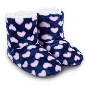 SHERPA KIDS SLIPPERS NAVY PINK HEARTS