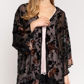 Elegant Black Velvet Burnout Floral Cardigan