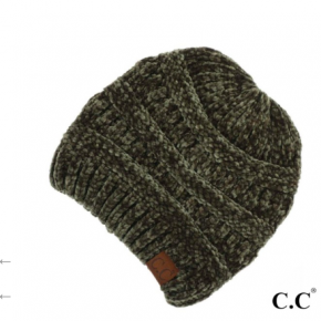 C.C Olive Chenille Ribbed Beanie