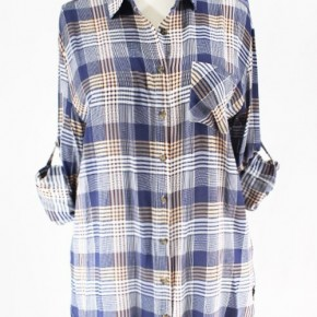 NAVY/TAUPE BUTTON UP SHIRT - True to size